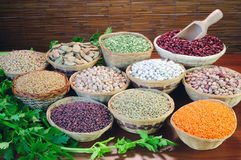 Pulses. Basket of dried beans on a canvas Stock Photography