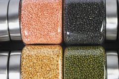 Pulses. Many pulses placed in jars Royalty Free Stock Photo