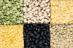 Pulses food background, assortment - legume, kidney beans, peas, lentils in square cells closeup top view. Stock Photos