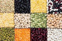 Pulses food background, assortment  - legume, kidney beans, peas, lentils in square cells closeup top view. Stock Image