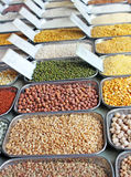 Pulses, grains and cereals in an indian market Royalty Free Stock Photography
