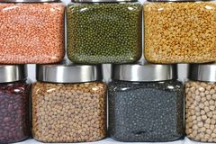 Pulses in jars. Different pulses in pet jars Stock Photos