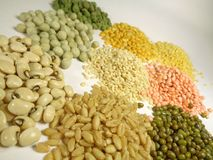 Pulses legumes pea gram lentils beans royalty free stock photography