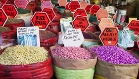 Pulses market stall Great Bazaar Istanbul Royalty Free Stock Images