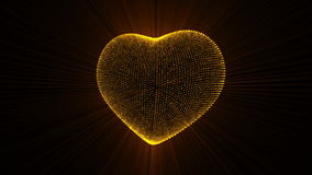 Pulsing Gold Heart. stock footage