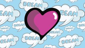 Heartbeat in dreams. The pulsing pink heart against the background of the dreams stock video