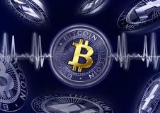 Pulso de Cryptocurrency Bitcoin Ilustração do Vetor