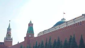 Pulso de disparo chiming do Kremlin na torre de Spasskaya moscow Rússia filme