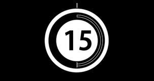 Pulso de disparo circular da contagem regressiva, 30 segundos com números e círculos que marcam o tempo video estoque
