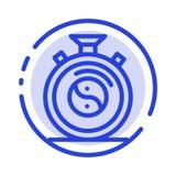 Pulso de disparo, concentração, meditação, linha pontilhada azul linha ícone da prática ilustração royalty free