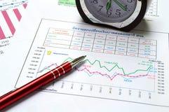 Pulso de disparo da pena e gráfico de negócio Fotos de Stock