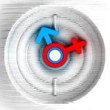 Pulso de disparo decorativo feito do cartão Símbolos de uma mulher e de um homem Projeto da arte ilustração 3D Foto de Stock