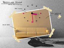 Pulso de disparo grande no sofá para a planta restyling do projeto Foto de Stock Royalty Free