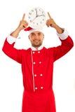 Pulso de disparo mostrando masculino do cozinheiro chefe Fotos de Stock Royalty Free