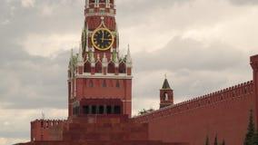 Pulso de disparo na torre de Spassky no Kremlin Quadrado vermelho Fotos de Stock
