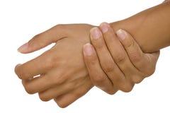 Pulso de medición del brazo de la mano humana Foto de archivo libre de regalías