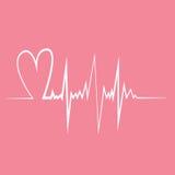 Pulso del corazón Ejemplo plano del vector del diseño Colores rosados y blancos Fotografía de archivo