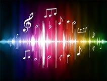 Pulso del espectro de color con las notas musicales Imagen de archivo libre de regalías