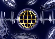 Pulso do globo de Cryptocurrency Ilustração do Vetor