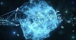 Pulsujący Cyfrowych Binarne sieci przesyłania danych - Abstrakcjonistyczny ruchu tło 4k royalty ilustracja