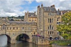 Pulteney-Brücke über dem Fluss Avon im Bad, Somerset, England Stockbilder