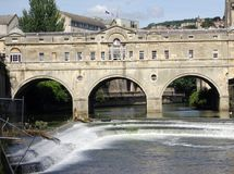 Pulteney Bridge 1. Pulteney Bridge across the Avon at Bath England stock photos