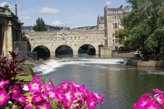 Pulteney Bridge. Across the river Avon in Bath England Stock Photos