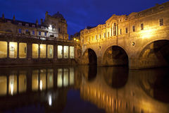 Pulteney Bridge at Night in Bath Stock Photo