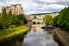Pulteney Bridge over The River Avon, Bath, England. Royalty Free Stock Image