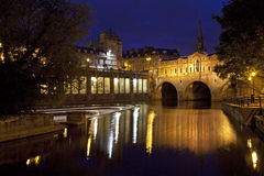 Pulteney Bridge and the River Avon at Night Stock Image