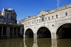 Pulteney Bridge. View of Bath from the Avon river. On the right is Pulteney Bridge royalty free stock image
