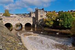 Pulteney brobad Förenade kungariket Arkivbild