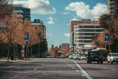 Pulteney Street towards North Terrace. Adelaide, Australia - September 11, 2016: View towards the University of South Australia campus on North Terrace from Stock Photo