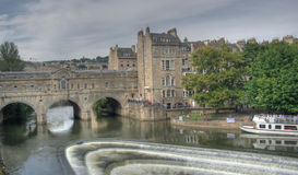 Pulteney Weir. Pulteney Bridge and Weir over the River Avon in Bath, Somerset, UK stock photos