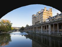 Pulteney Weir and Grand Parade Viewed from the River Avon Stock Photos