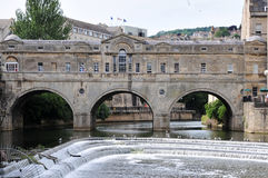 Pultney Bridge in Bath England. Pultney Bridge over the River Avon in Bath England - A Famous British Landmark and Tourist Attraction Royalty Free Stock Photos