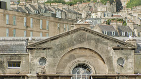 Pultney Bridge in Bath, England. Top of the building in the Pultney Bridge in Bath Spa, Somerset, England Stock Photos