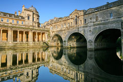 Pulteney Bridge in Bath, Somerset. The Georgian bridge over the River Avon in Somerset, England.  A world heritage site Royalty Free Stock Photo