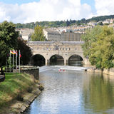 Pultney Bridge and the River Avon in Bath England. The Famous Pultney Bridge on the River Avon in Bath England Stock Photos