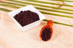 Pulver gibt acai brasilianisches Fruchteuterpe oleracea Lizenzfreies Stockbild