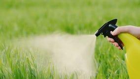Pulverizador com gramado verde líquido video estoque