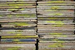 Pulverizador de madeira macro da textura pintado com tinta amarela da pintura Fotos de Stock Royalty Free