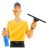 Pulverizador do rodo de borracha do indicador da limpeza do homem Foto de Stock