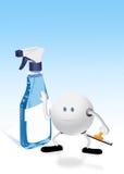 Pulverizador e caráter 3d de vidro azuis Fotos de Stock Royalty Free