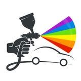 Pulverizer in de hand van autokleuring stock illustratie