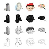 Pulverizer with paint, still life, the artist`s appearance, a palette for drawing. Artist and drawing set collection. Icons in cartoon black monochrome outline Royalty Free Stock Photography