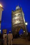 Pulvertorn Prague på natten Fotografering för Bildbyråer
