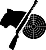 Puma, arme à feu et cible Photos libres de droits