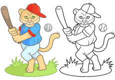 Puma a baseball player is going to hit the ball Royalty Free Stock Photo