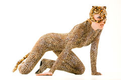 Puma cub. Hot beautiful model in latex leopardess costume Stock Photo